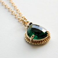 "Emerald Faceted Glass Stone Pendant on 24"" Matte Gold Chain Necklace"