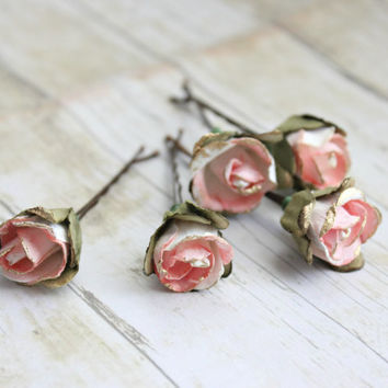 White and Pink Flower Hair Pins. Paper Flowers, Bridesmaids. Bridal, Whimsical, Summer, Spring, Weddings, Bridal, Hair Accessories, Floral