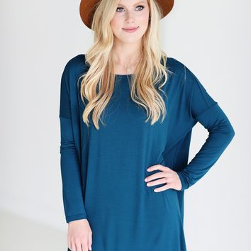 Majolica Blue PIKO Long Sleeve Tunic