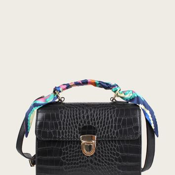 Twilly Scarf Croc Embossed Satchel Bag