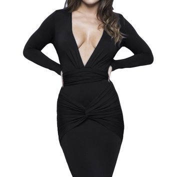 Chicloth Black Slinky Knotted Long Sleeve Knee Length Dress