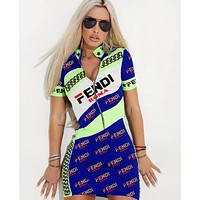 FENDI Summer Hot Sale Women Sexy Print Half Zipper Short Sleeve High Collar Dress Blue