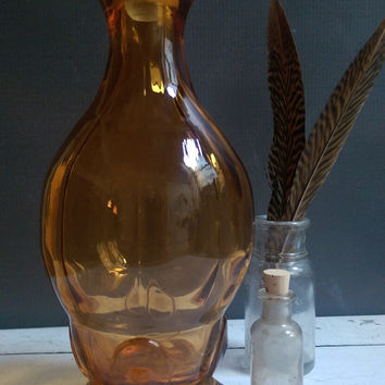 Art Deco Amber Glass Decanter with clear stopper