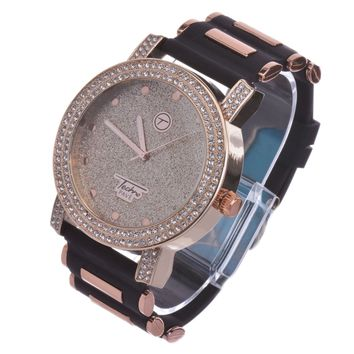 Jewelry Kay style Men's Hip Hop Fashion Rose Gold Plated Black Bullet Band Watches WR 8462 RG