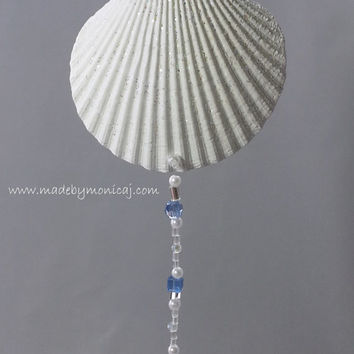 Scallop Seashell Wall Hanging.  White Scallop Shell with Jewelry Beading.