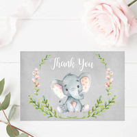 Watercolor Floral Thank You Card, Printable Elephant Thank You Card 6x4, Custom Thank You Card, Baby Shower Printable, Digital Print