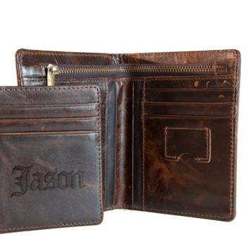 Men's Leather Wallet | Personalized Leather Wallet | Handmade Leather Wallet | Groomsmen Gift | Gift for Groomsmen | Gift for him | Bifold