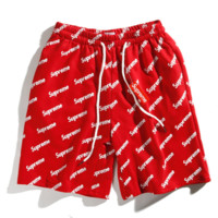 Supreme New fashion letter print men and women sport short Red