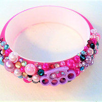 Brass Knuckle Bangle, Beaded Bracelet, Kawaii Bracelet, Gothic Jewelry, Gifts for Teens, Festival Jewelry, Easter Outfit, Easter Jewelry