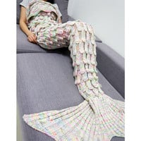 Knitted Mermaid Blanket Fish Tail Kids Adult Sofa Sleeping Bag Winter Soft Crochet Mermaid Tail Shape Blankets