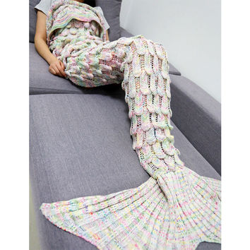 85cm X 206cm Knitted Mermaid Blanket Fish Tail Kids Adult Sofa Sleeping Bag Winter Soft Crochet Mermaid Tail Shape Blankets 10S