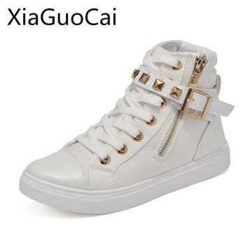 Rivet White Fashion Women Casual Shoes Flat High Top Female Pink Sneakers for Women Platform Cute Flat Shoes G76 35