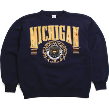 University of Michigan Large Arch & Seal with Lines Galt Sand Crewneck Sweatshirt Navy (Large)