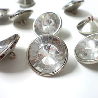 10 Rhinestone Buttons - Medium 22 mm Faceted Plastic Lightweight Crystal Buttons for bridal, fashion, or costume decoration