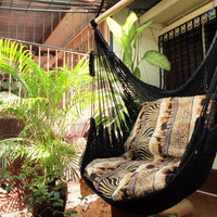 Black Sitting Hammock Hanging Chair Natural Cotton and by hamanica