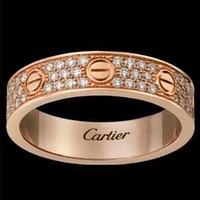 Cartier Unisex More Rows Of Drill Diamond Ring Stars Couple Ring Accessories