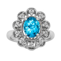 Simply Vera Vera Wang Sterling Silver Blue Topaz & 1/4-ct. T.W. Diamond Ring
