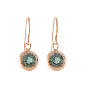 Tiny Green Sapphire Drop Earrings