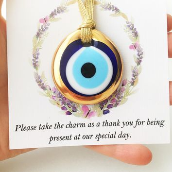 Personalized wedding card, nazar boncuk, gold evil eye beads, wedding favors for guest, turkish evil eye, greek evil eye charm, unique favor