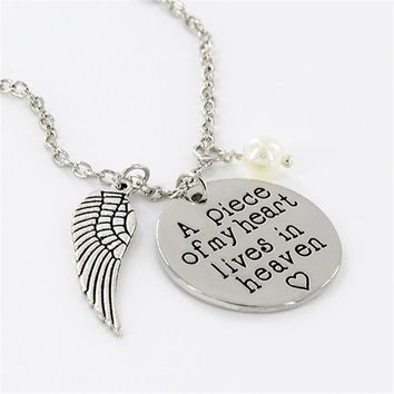 'A Piece of My Heart Lives in Heaven' Memorial Charm Pendant Necklace