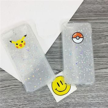DCCKWQA New arrival Pokemons Go Pokeball yellow Electricity mouse Glitter Sequin soft TPU Phone Case for iphone 6 6S/6 PLUS 6S PLUS R728