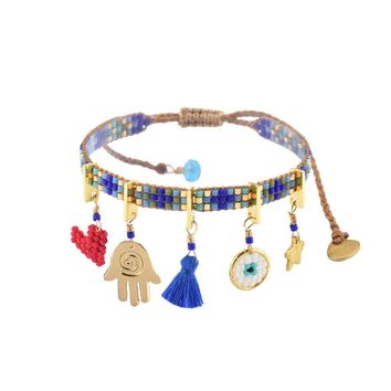 Charmy Bracelet In Blue Turqoise and Gold
