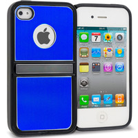 Blue Brushed Stand Metal Hard Case Cover for Apple iPhone 4 / 4S
