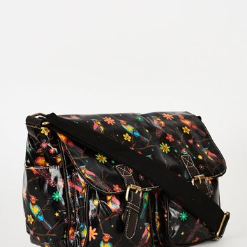 Birds Pattern Zip Fastening Black Satchel Bag