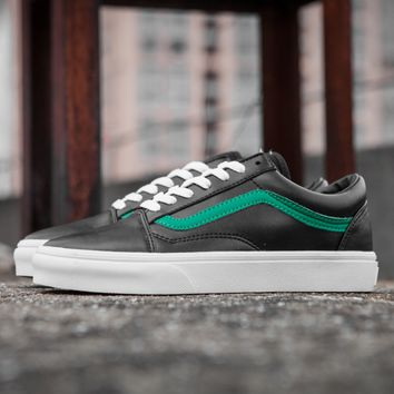 Vans Classic black and green all leather casual shoes
