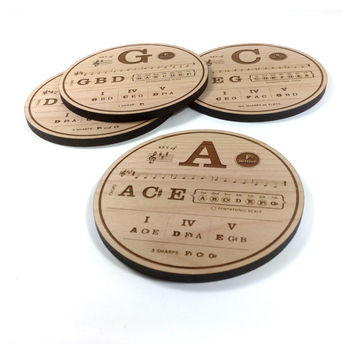 Music Theory Wood Engraved Coasters - Set of 12