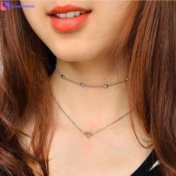 Tide street shot love pendant necklace Women Double Layer Heart Statement Chain Pendant Necklace Jewelry Alloy dropship #GH35
