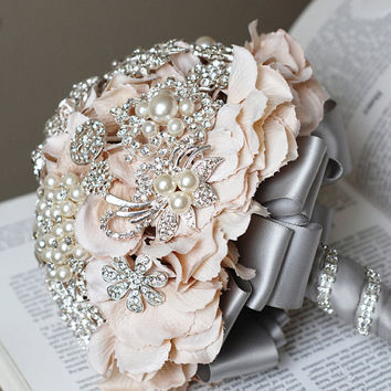 Vintage Bridal Brooch Bouquet Pearl Rhinestone by LXdesigns