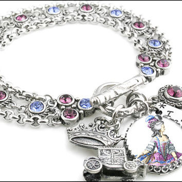 Marie Antoinette Jewelry, Stainless Steel Bracelet with Charms, Let Them Eat Cake