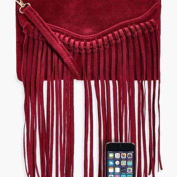 Emily Fringed Suedette Cross Body Bag | Boohoo