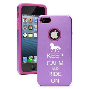 Apple iPhone 5 5S Purple 5D247 Aluminum & Silicone Case Cover Keep Calm and Ride On Horse