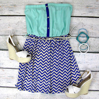 Seaside Pointe Mint & Royal Blue Chevron Tube Dress