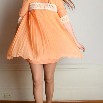 Vintage 1960s Babydoll Dress - Orange Creamsicle Pleated Dolly Dress - Small XS