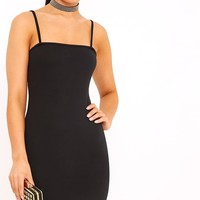 Desri Black Straight Neck Bodycon Dress
