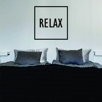 Relax Simple Square Design Quote Decal Sticker Wall Vinyl Art Words Decor