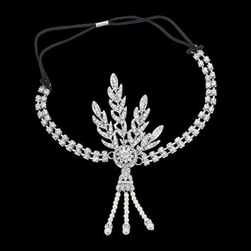 Babeyond® Art Deco 1920's Flapper Great Gatsby Inspired Leaf Medallion Pearl Headpiece Headband (Silver)