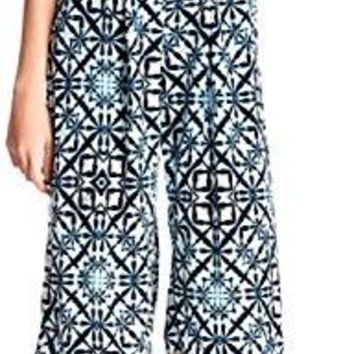 Love.Ady Women's Blue White Printed Wide Leg Culottes Jumpsuit Romper Size Small