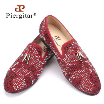 New red and black suede men shoe with gold tassel and exquisite crystal men wedding and party men dress shoes men's flat