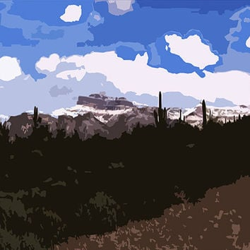 Desert Mountains Acrylic Popart Painting Superstitiion Mountain 16 x 20 Inches