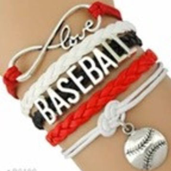 Baseball Bracelet - Red/White