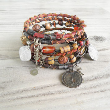 Silk Road Gypsy Bangle Set - 6 Piece, Adana, Bohemian Tribal Bracelets, Silk Wrapped and Beaded in Fall Colors
