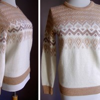 Pine State 1970's Vintage Sweater in Cream and Light Brown