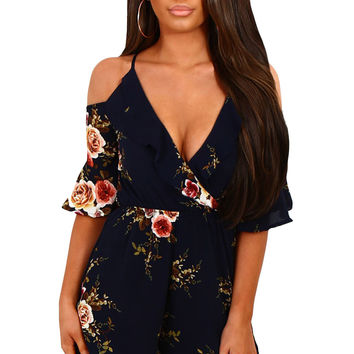 Navy Multi Floral Ruffle Wrap Cold Shoulder Playsuit LAVELIQ