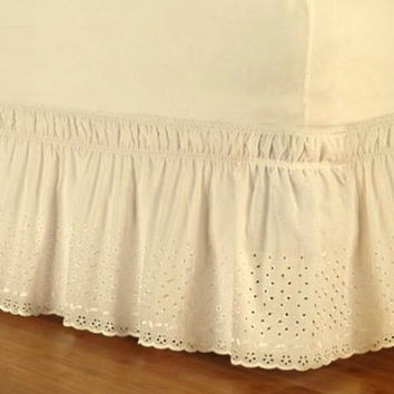 Dainty Home Queen/King Wrap Around Eyelet Bed Ruffle White