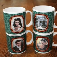 RARE Vintage Collectible Set of all 4 Gone with the wind mugs with Scarlett O'Hara and Rhett Butler