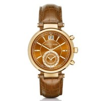 Sawyer Gold-Tone and Embossed-Leather Watch | Michael Kors